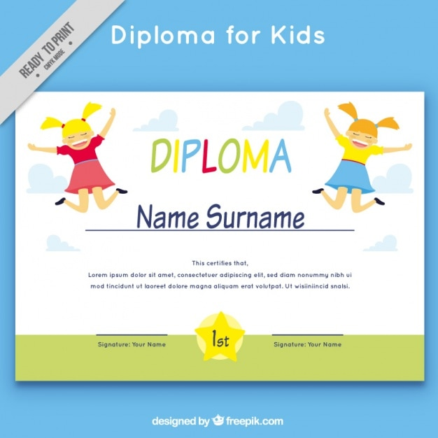 download vector cheerful school diploma template vectorpicker