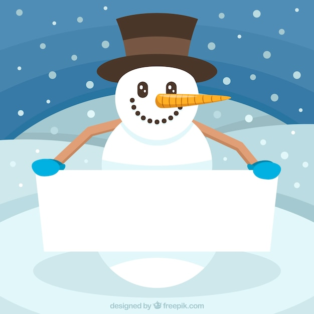 Cheerful snowman with blank sign