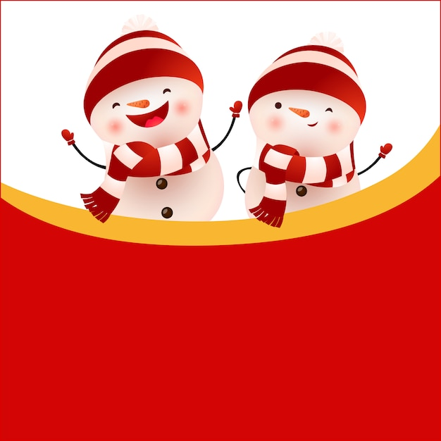 Cheerful snowmen and empty space on red background Free Vector