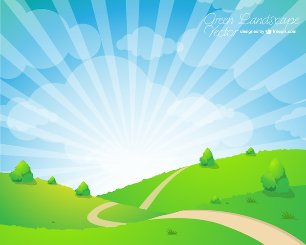 Cheerful spring landscape with sunburst Free Vector