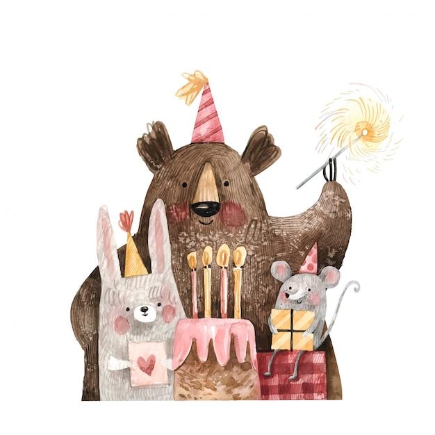 Жизнерадостный плюшевый медвежонок, мышь и зайчик в праздничных крышках с тортом и подарками желают с днем рождения иллюстрацию изолированную на белой предпосылке. акварельные иллюстрации милые персонажи вечеринки по случаю дня рождения Premium векторы