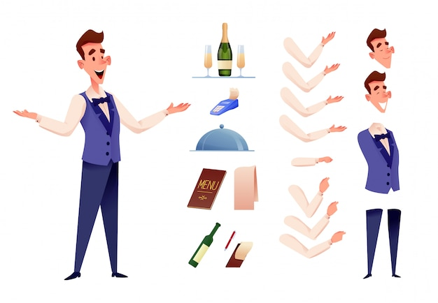 Cheerful waiters serving at restaurant creation kit Premium Vector