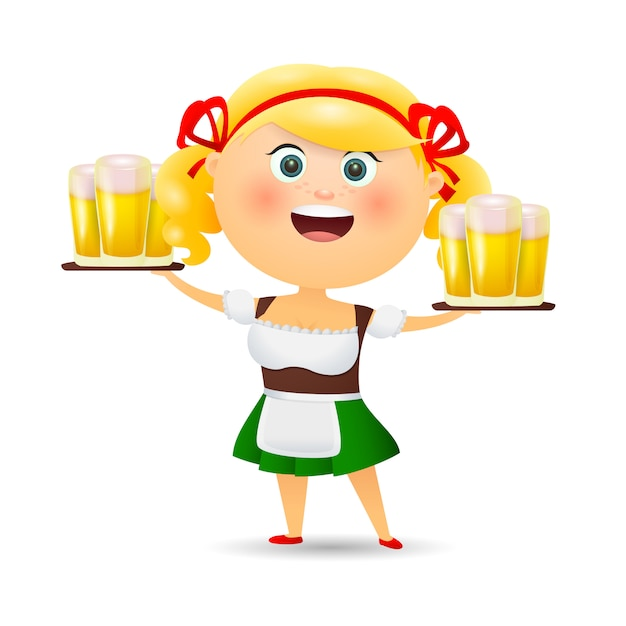 Cheerful waitress carrying beer Free Vector
