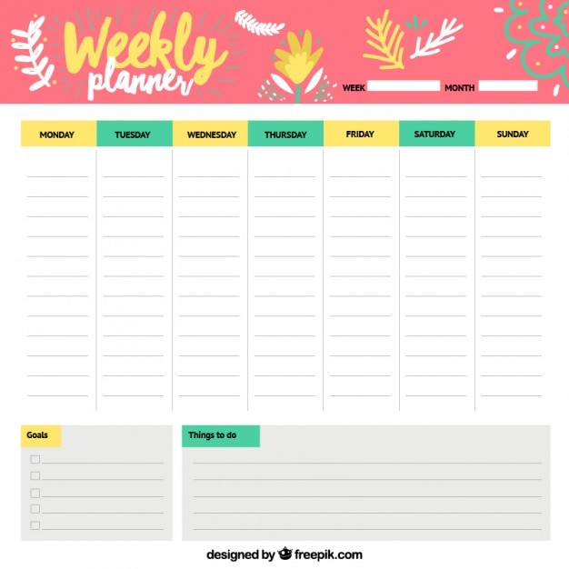 Cheerful weekly schedule vector free download for Planner casa online gratis