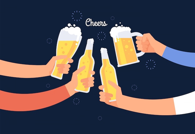Cheering hands. cheerful people clinking beer bottle and glasses. happy drinking holiday vector background Premium Vector