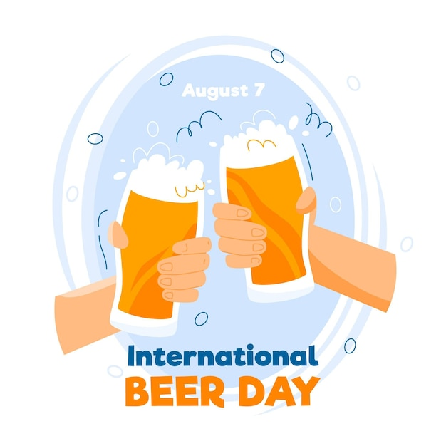 Cheering international beer day event Free Vector