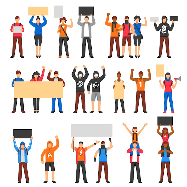 Cheering protesting crowd set Free Vector
