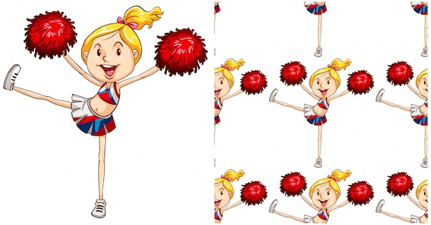 Cheerleader seamless pattern isolated on white Free Vector