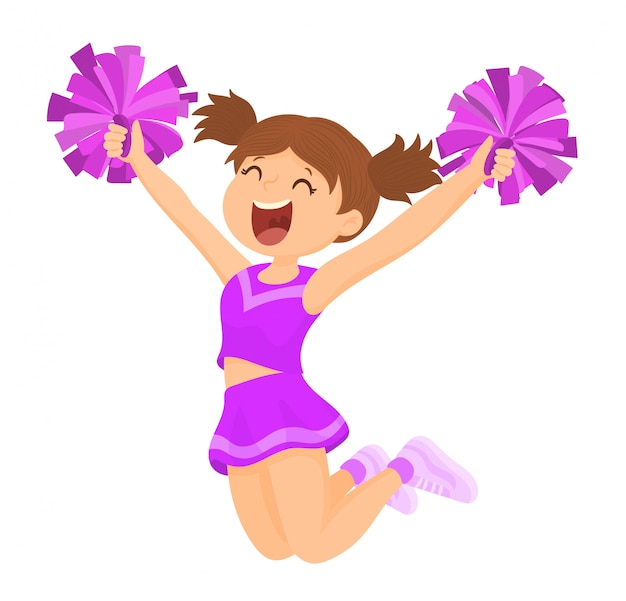 Cheerleader with matching pompoms Premium Vector