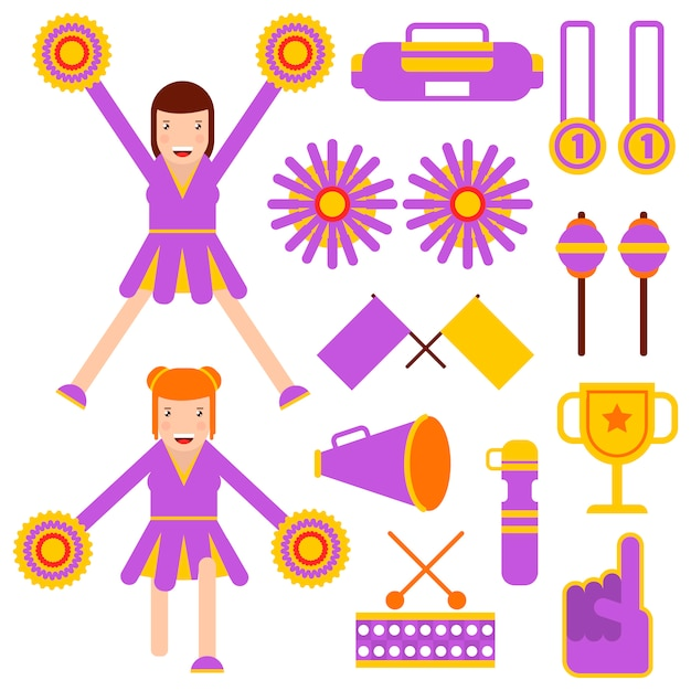 Cheerleading elements and cheerleader girls accessories Premium Vector