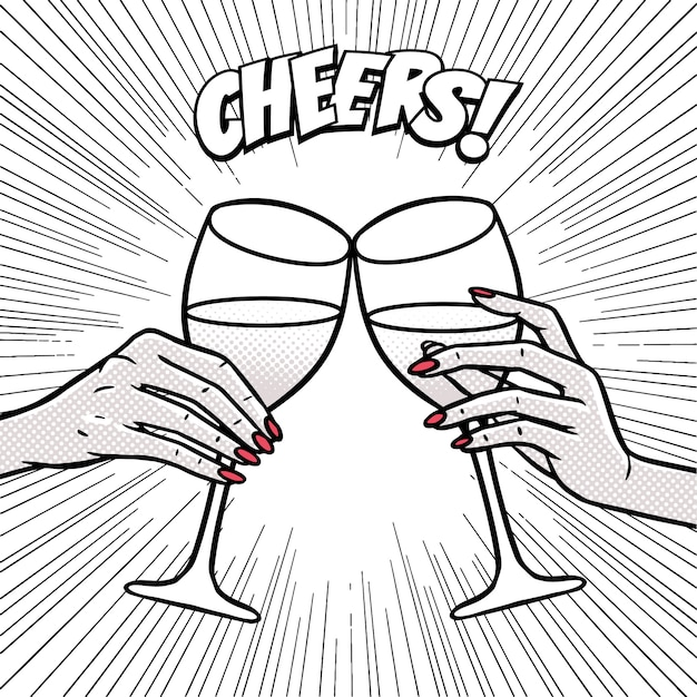 Cheers, girls drinking, hands with wine glasses Premium Vector