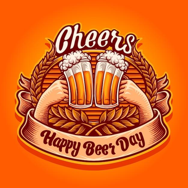 Ура, счастливый день пива иллюстрация Premium векторы