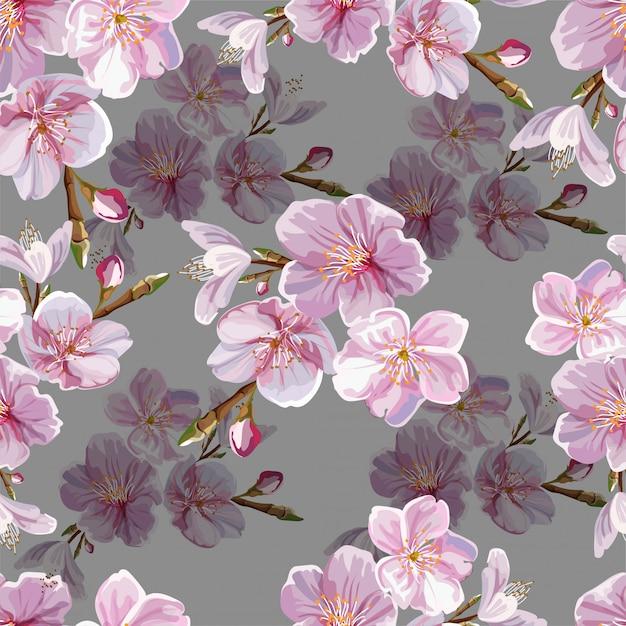 Cheery blossom  seamless pattern Premium Vector