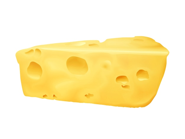 Cheese 3d illustration. emmental or cheddar and edam cheese triangle lump with holes Free Vector