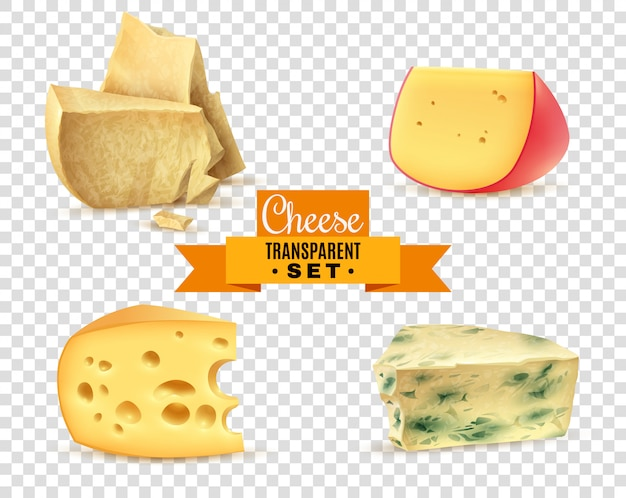 Cheese 4 realistic images transparent set Free Vector