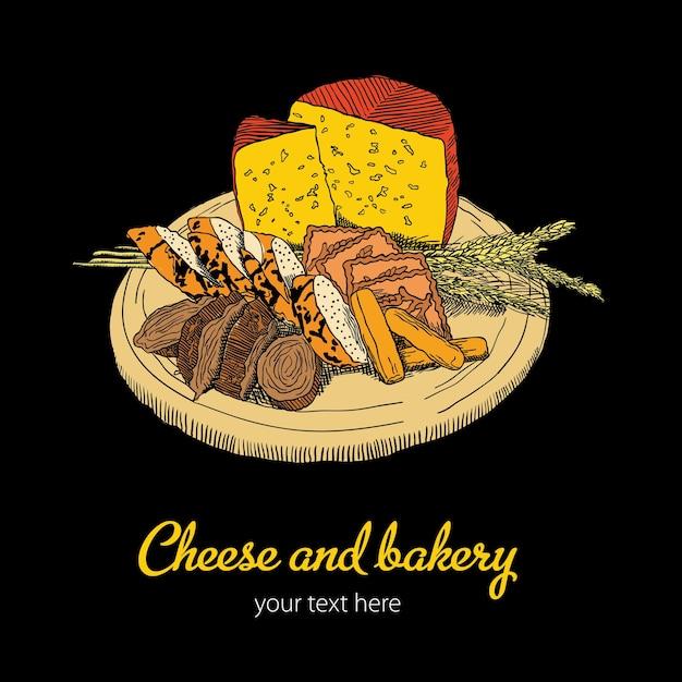 Шаблон сыр и хлебобулочные с тарелкой еды Бесплатные векторы