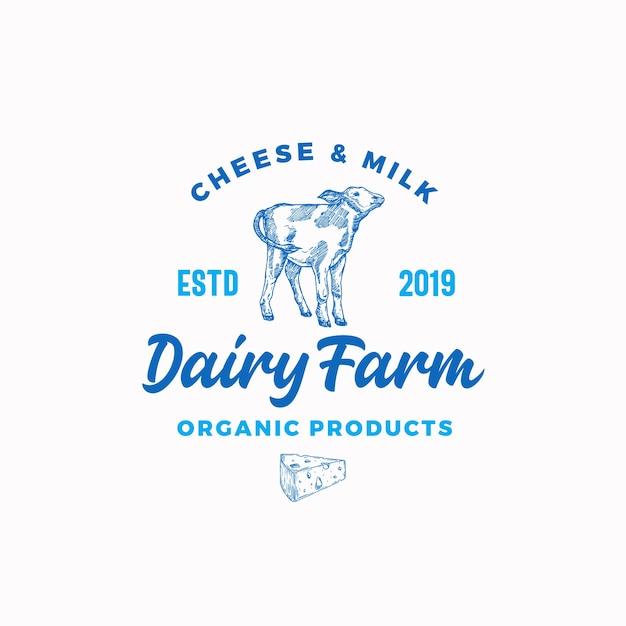 チーズと牛乳の酪農場。 無料ベクター