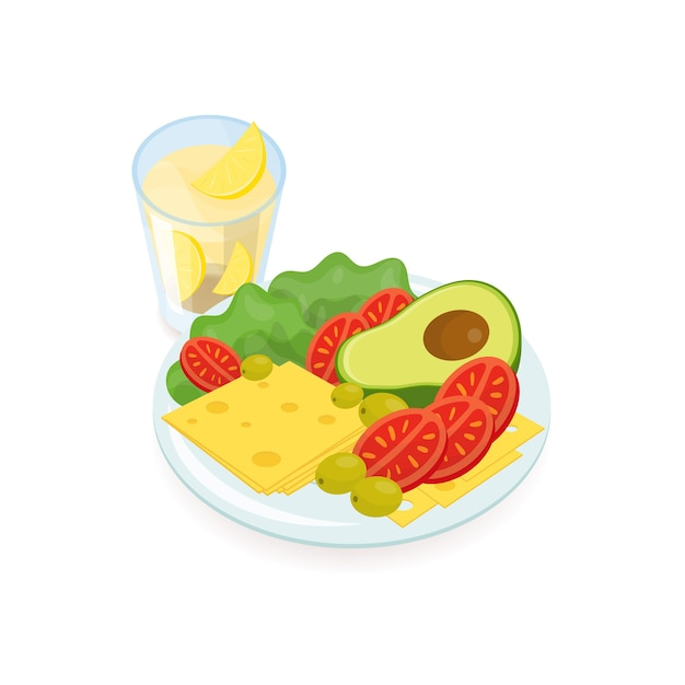 Ломтики сыра и помидоров, салат, авокадо и оливки, лежащие на тарелке и стакане апельсинового сока. Premium векторы
