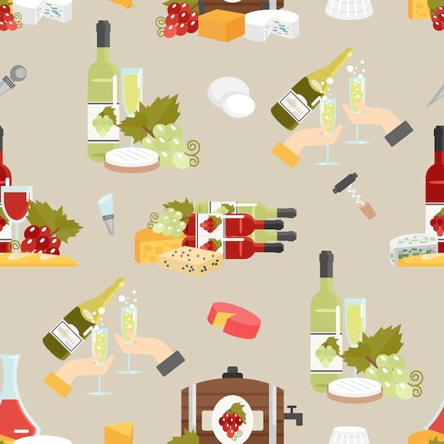 Декоративный рисунок с сыром и вином Бесплатные векторы