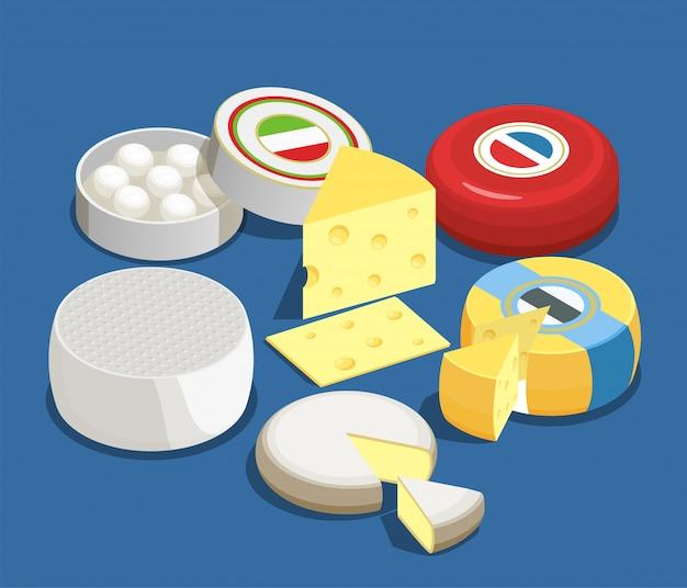 Insieme di concetto isometrico assortimento di formaggi di mozzarella maasdam brie e altri tipi di formaggio Vettore gratuito