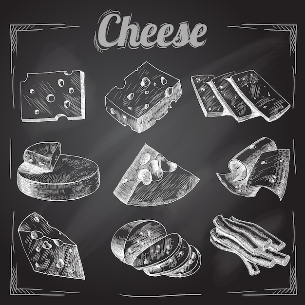 Cheese on black background Free Vector