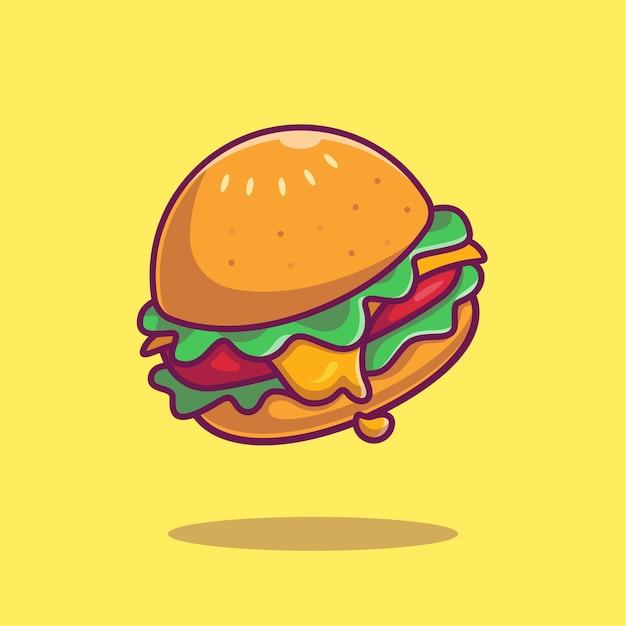 Cheese burger cartoon icon illustration. Free Vector