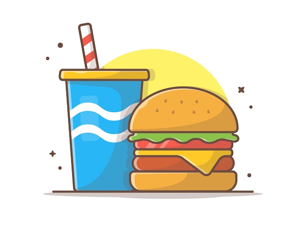 Cheese burger clip-art with soda and ice vector clip-art illustration Premium Vector