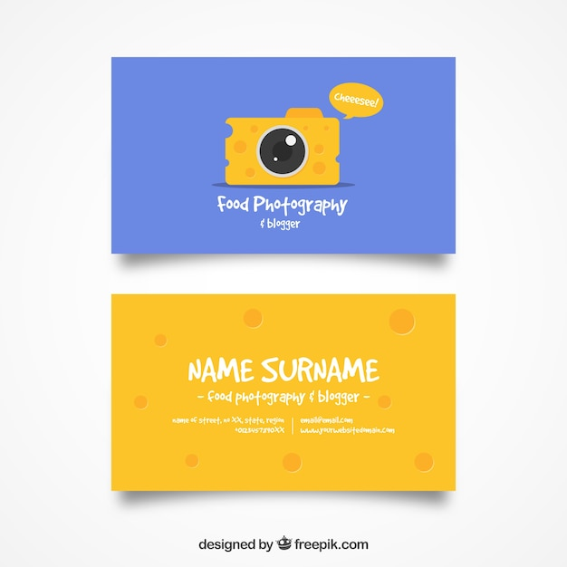 Cheese camera card Free Vector