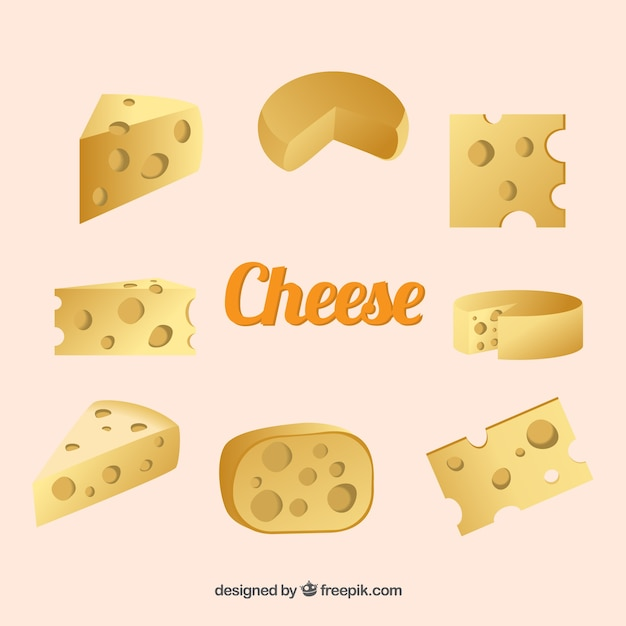 Cheese collection Free Vector
