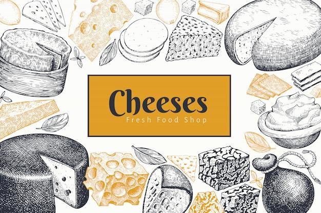 チーズのデザインテンプレートです。手描きのベクトルの乳製品のイラスト。 Premiumベクター