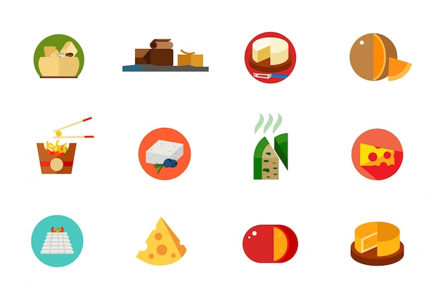 Cheese food icon set