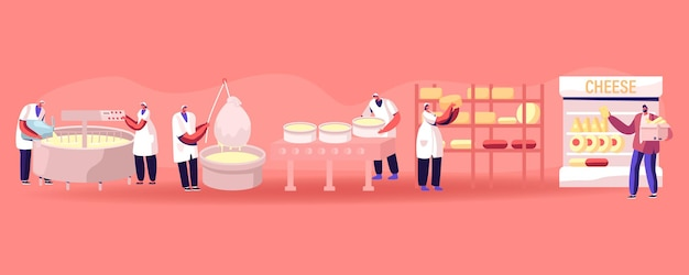 Cheese food production factory. commercial characters make dairy machinery process in metal tank. ca