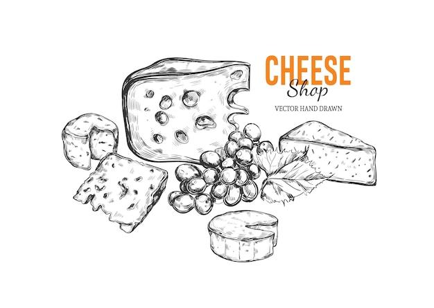 Сыр рисованной иллюстрации в стиле винтаж гравировкой Premium векторы