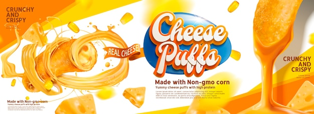 Cheese puffs banner ads with delicious sause swirling in the air Premium Vector