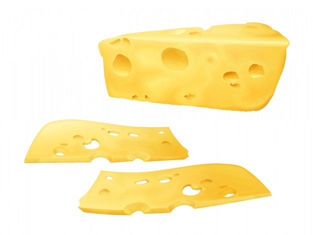 Cheese slices 3d illustration of sliced emmental or cheddar and edam cheese with holes. Free Vector