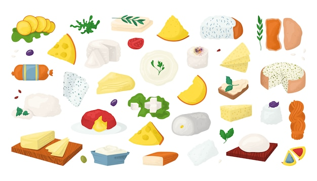 Cheese types  illustrations set  on wite. slices of parmesan, cheddar, fresh food icons. swiss cheese, gauda, roquefort, brie gourmet pieces. edam, mozzarella cheesy collection. Premium Vector