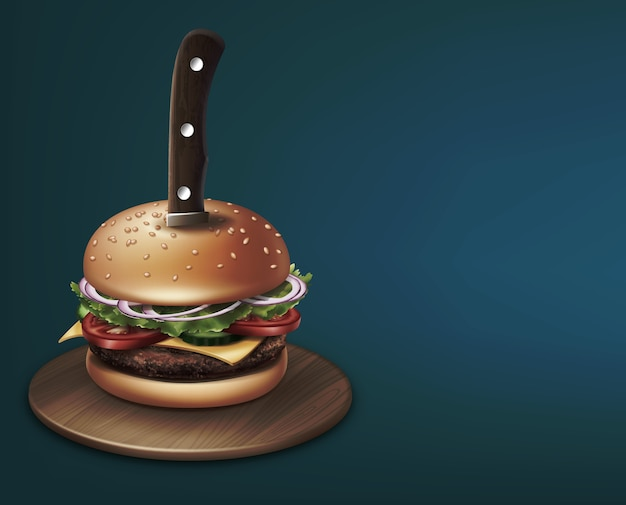 Cheeseburger stabbed with a knife on round wooden plate illustration Premium Vector