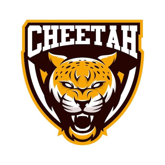 CHEETAH animal sport mascot head logo vector Premium Vector