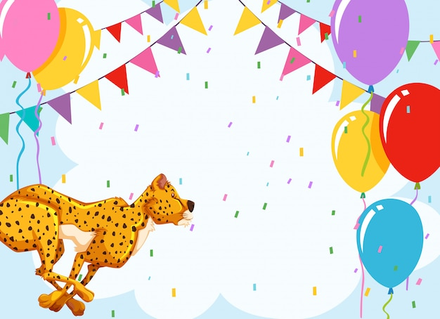 Cheetah on birthday template Free Vector