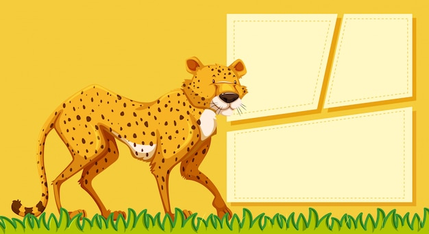 A cheetah on blank note Free Vector