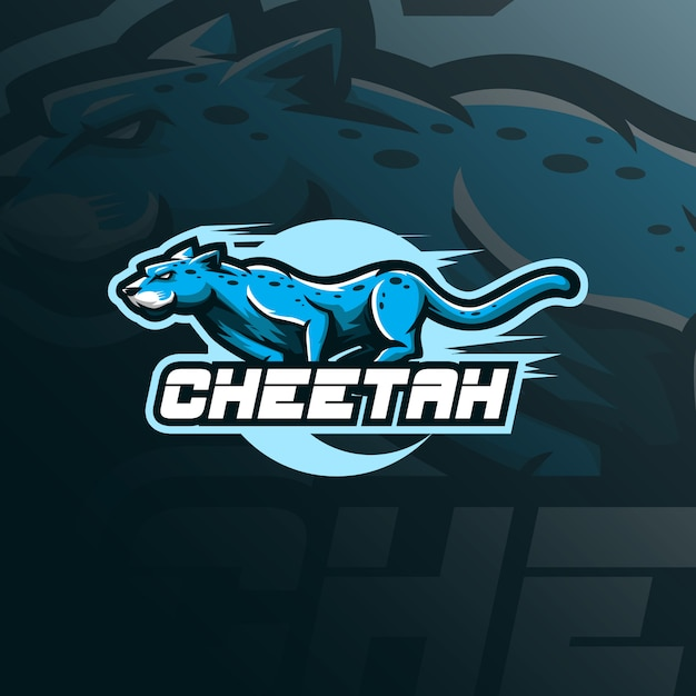 Cheetah mascot logo design vector with modern illustration concept style for badge, emblem and tshirt printing. Premium Vector