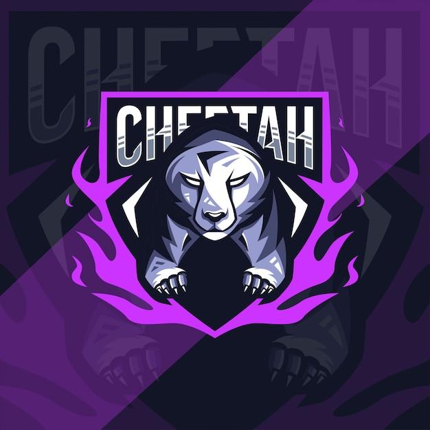 Cheetah mascot logo esport design Premium Vector