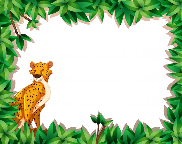 A cheetah in nature frame Premium Vector