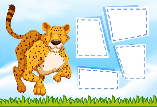 Cheetah on note template Free Vector