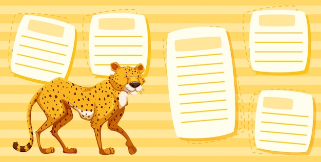 Cheetah on text note template Free Vector