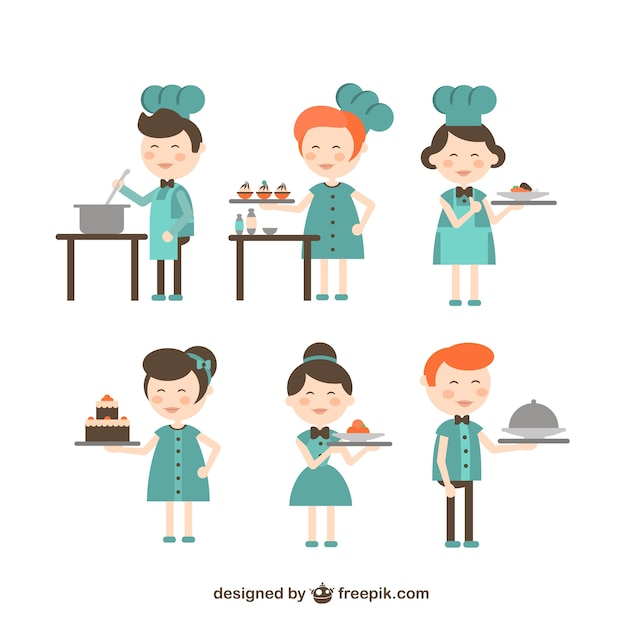 Chef and waitress cartoons vector free download