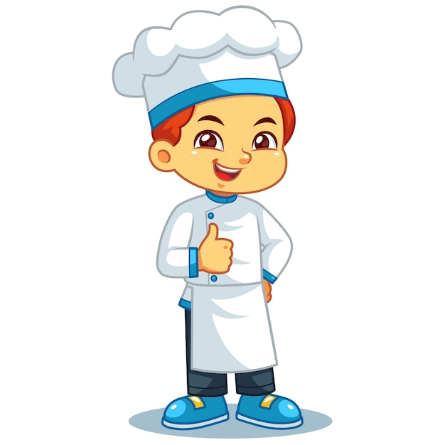 Chef boy thumb up pose. Premium Vector