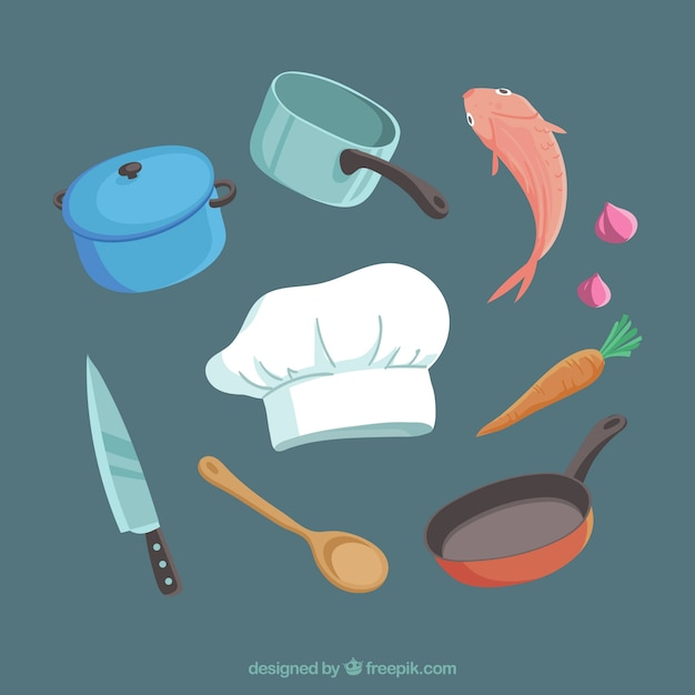 Chef cap pack with ingredients and cooking utensils Free Vector
