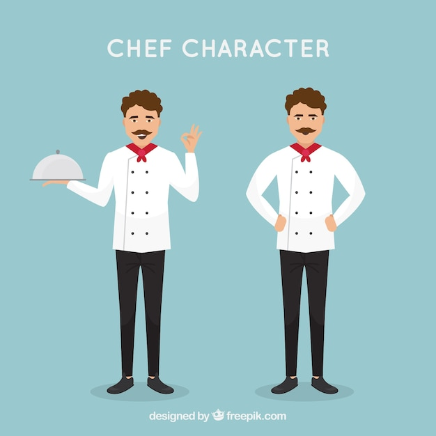 Flat Design Character Download : Chef character in flat design vector free download
