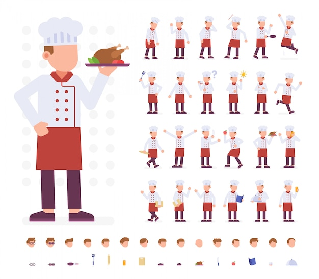 Chef character set in different poses Premium Vector